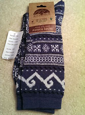 Geometric Patterned Alpaca Crew Socks for Women – Denim