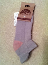 Cushioned Tab Ankle Socks – Light Grey and Pink